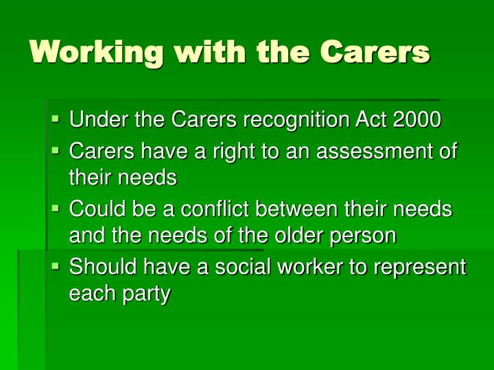Working with the Carers