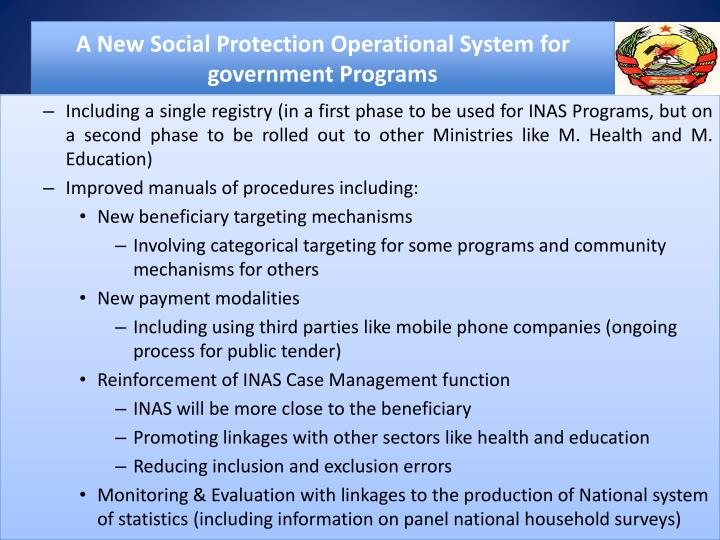 A New Social Protection Operational System for government Programs