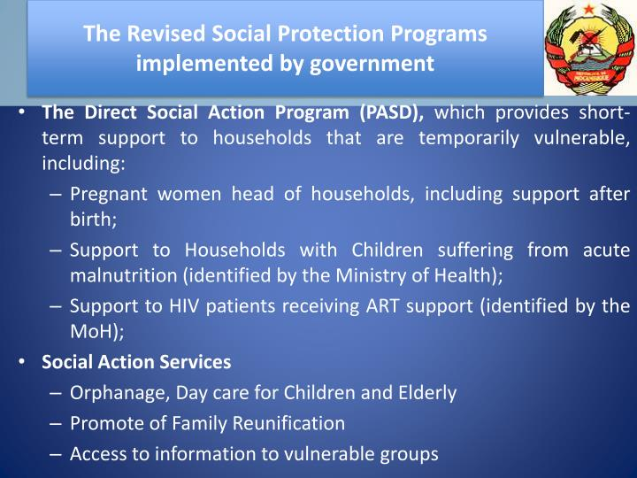 The Revised Social Protection Programs implemented by government