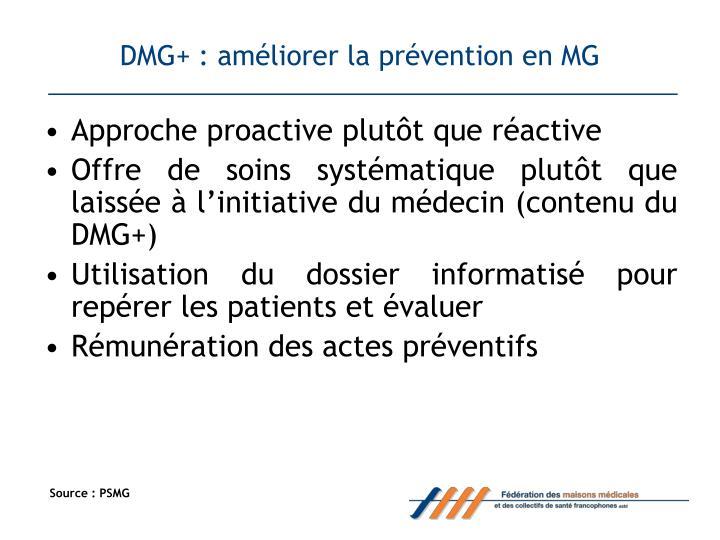 DMG+ : améliorer la prévention en MG