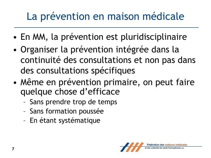 La prévention en maison médicale
