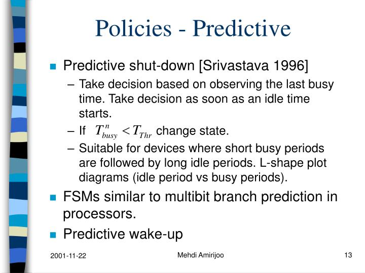 Policies - Predictive