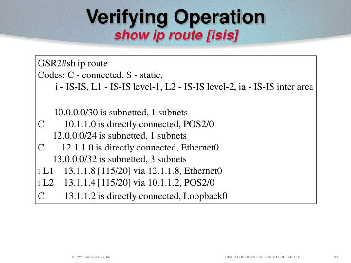 Verifying Operation