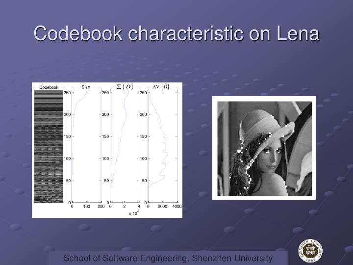 Codebook characteristic on Lena