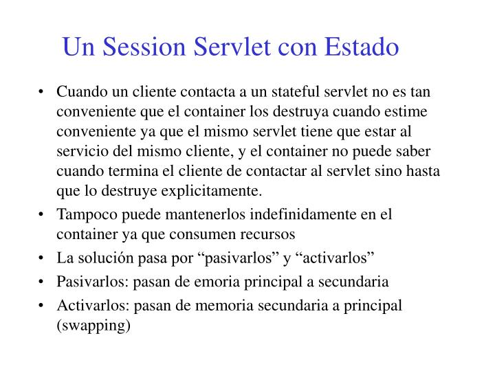Un Session Servlet con Estado