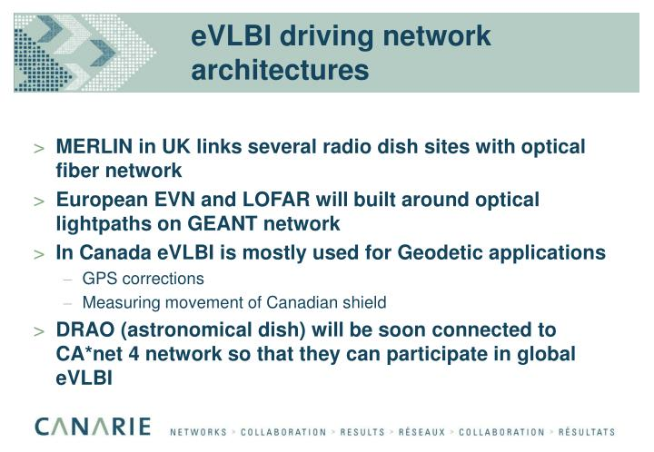 eVLBI driving network architectures