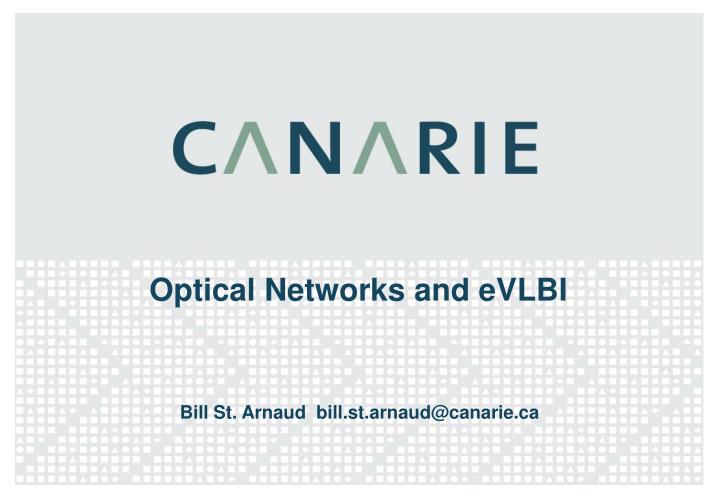Optical networks and evlbi