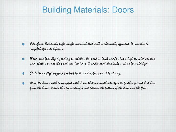 Building Materials: Doors