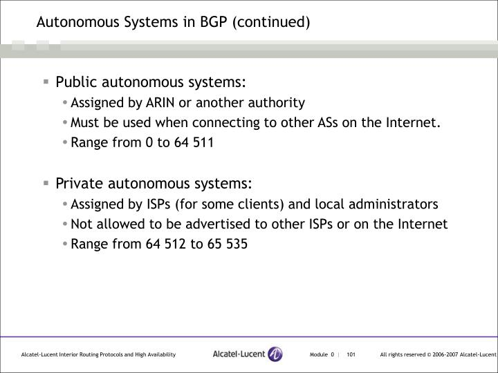 Autonomous Systems in BGP (continued)