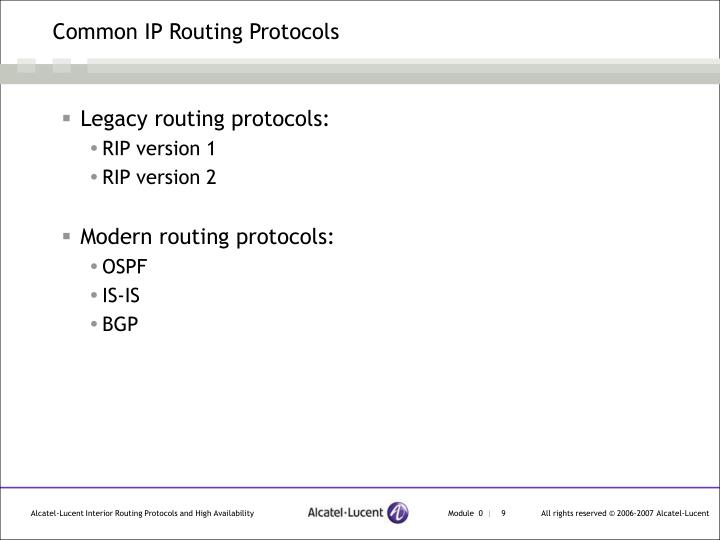 Common IP Routing Protocols