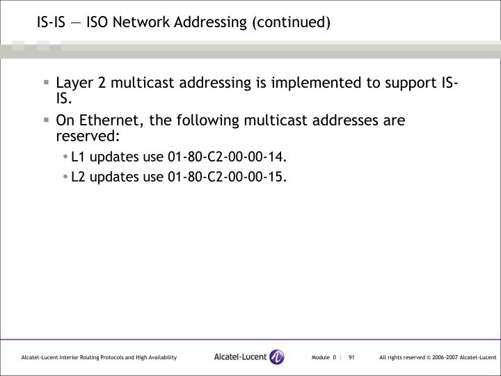 IS-IS — ISO Network Addressing (continued)