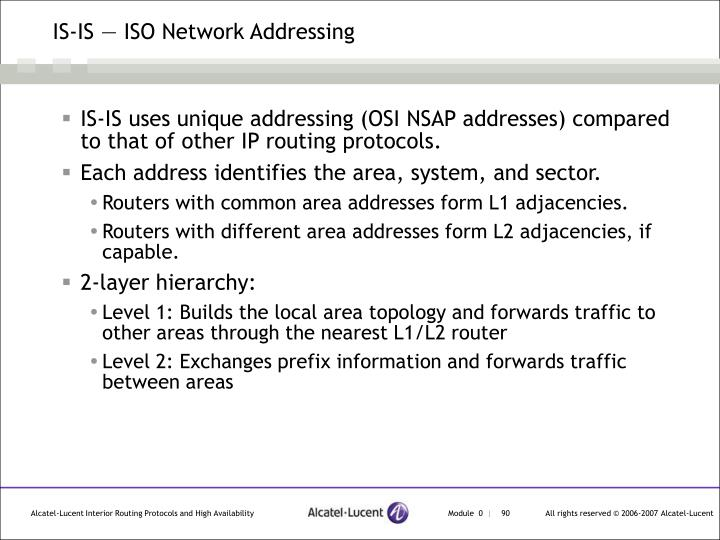 IS-IS — ISO Network Addressing
