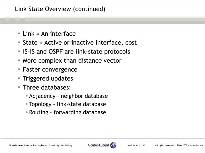 Link State Overview (continued)
