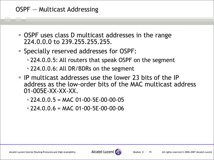 OSPF — Multicast Addressing