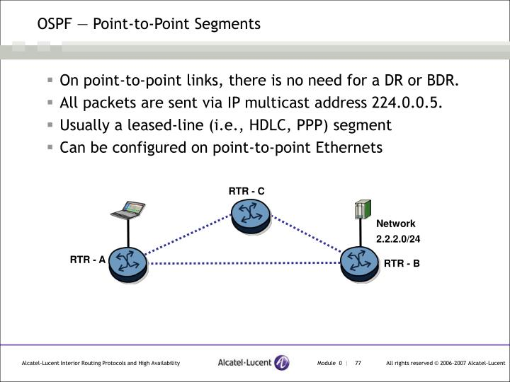 OSPF — Point-to-Point Segments