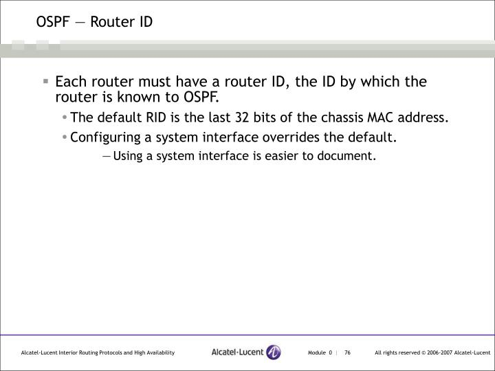 OSPF — Router ID