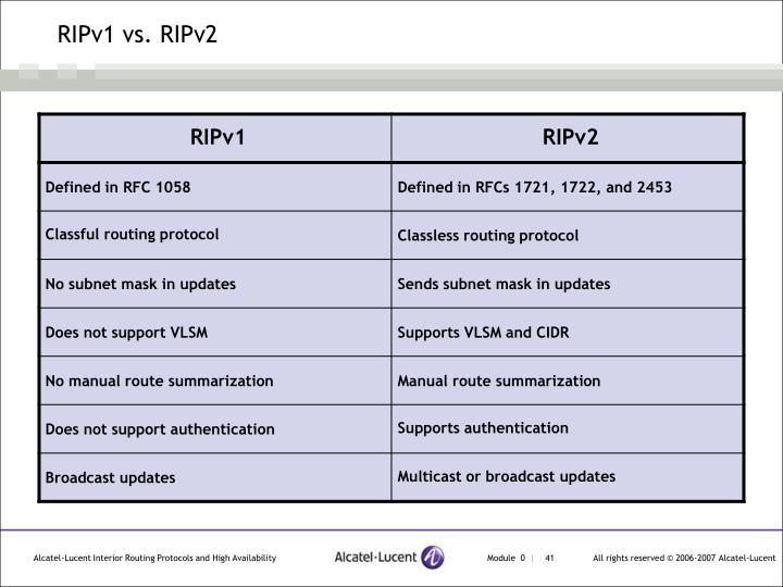 RIPv1 vs. RIPv2
