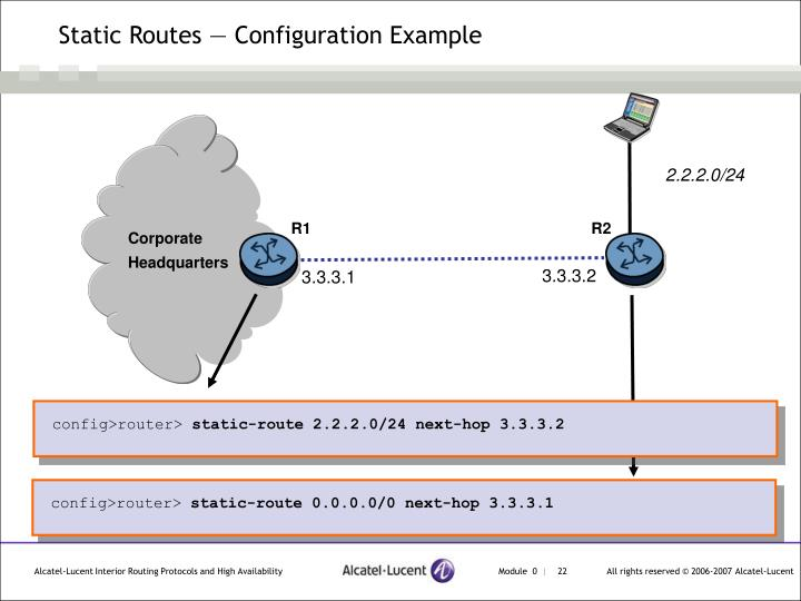 Static Routes — Configuration Example