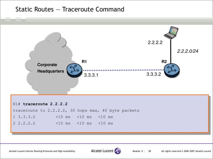 Static Routes — Traceroute Command