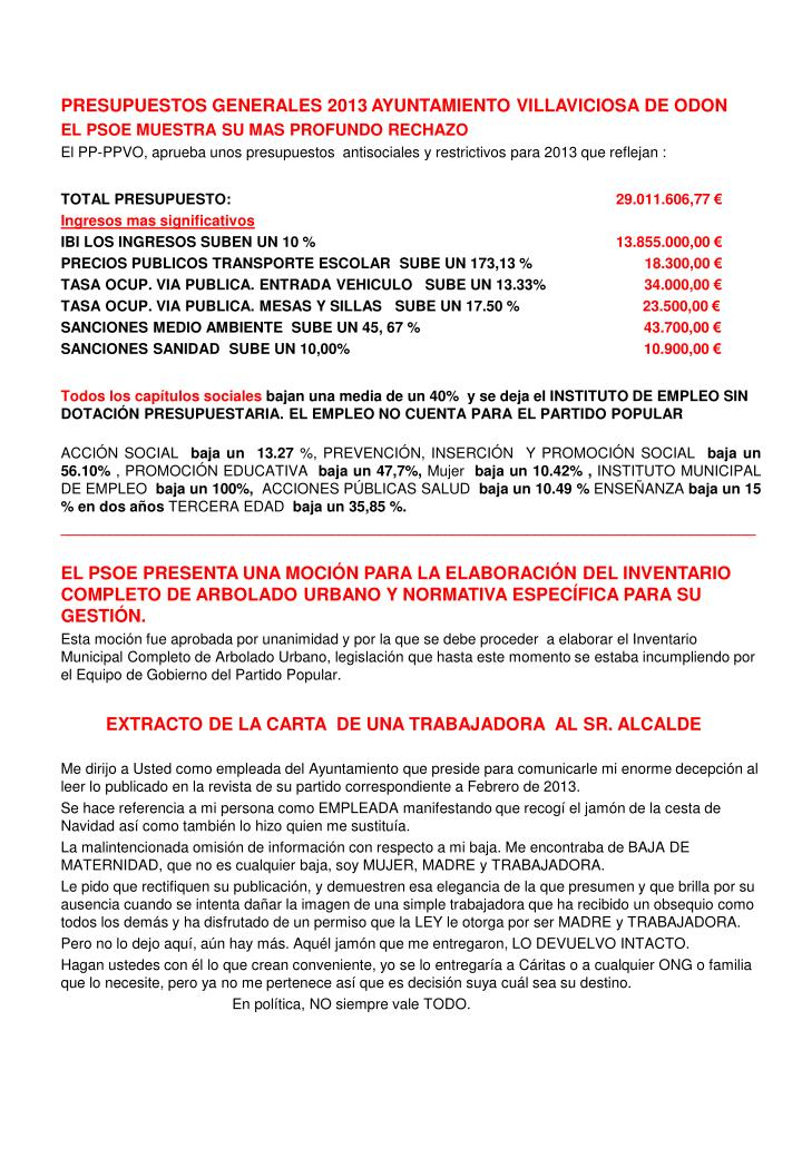 PRESUPUESTOS GENERALES 2013 AYUNTAMIENTO VILLAVICIOSA DE ODON