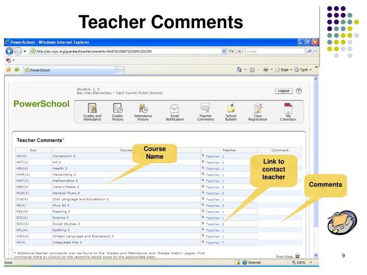 Link to contact teacher