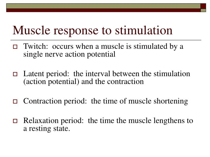Muscle response to stimulation