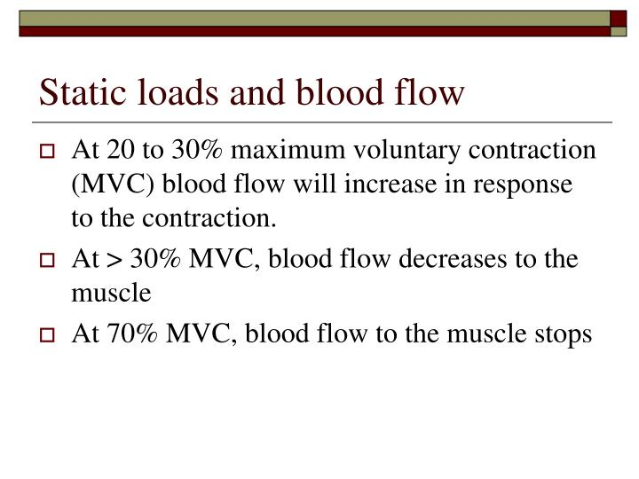 Static loads and blood flow