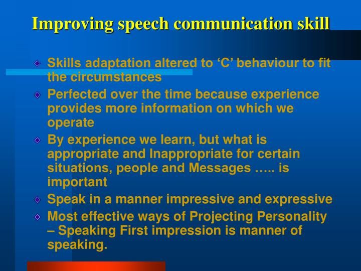 Improving speech communication skill