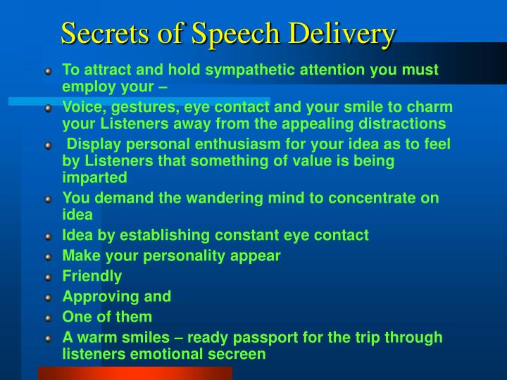 Secrets of Speech Delivery