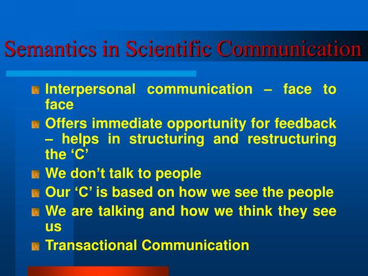 Semantics in Scientific Communication