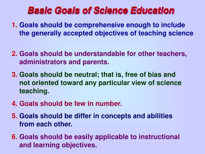 Basic Goals of Science Education