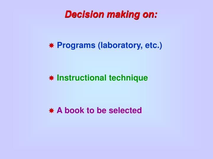 Decision making on:
