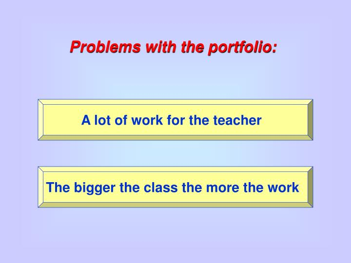 Problems with the portfolio: