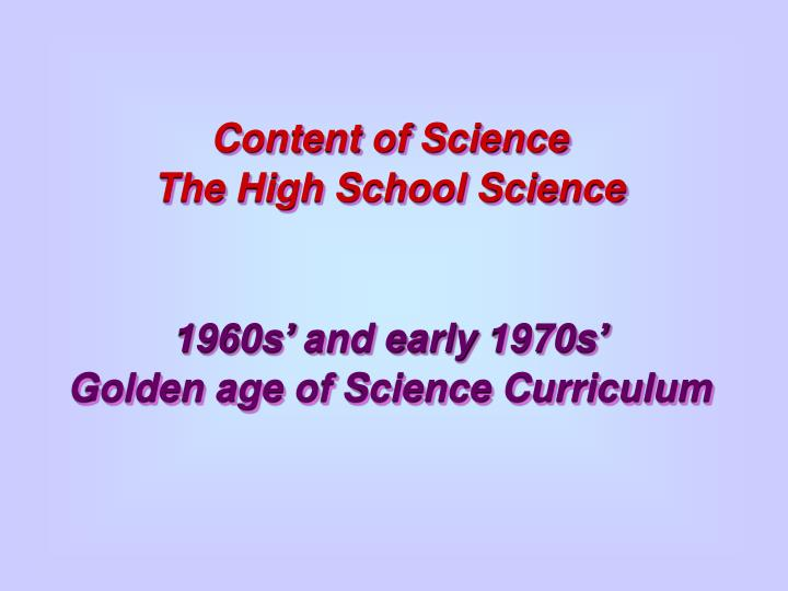 Content of Science