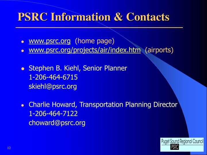 PSRC Information & Contacts