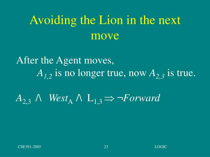 Avoiding the Lion in the next move