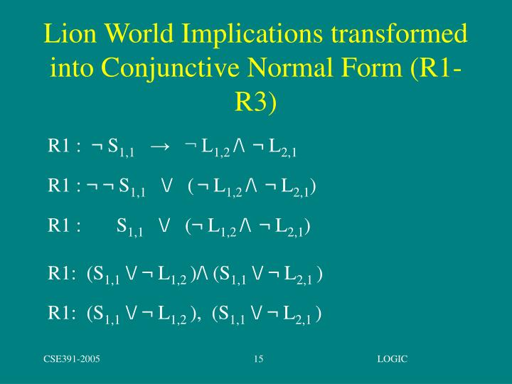 Lion World Implications transformed into Conjunctive Normal Form (R1-R3)