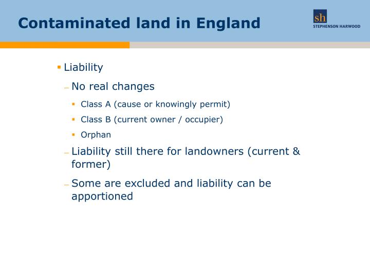 Contaminated land in England