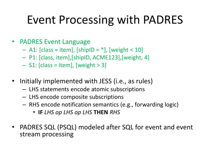 Event Processing with PADRES