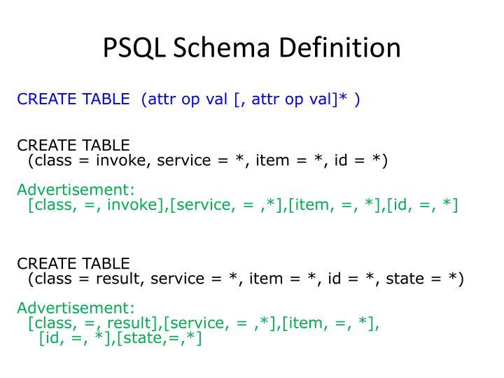 PSQL Schema Definition
