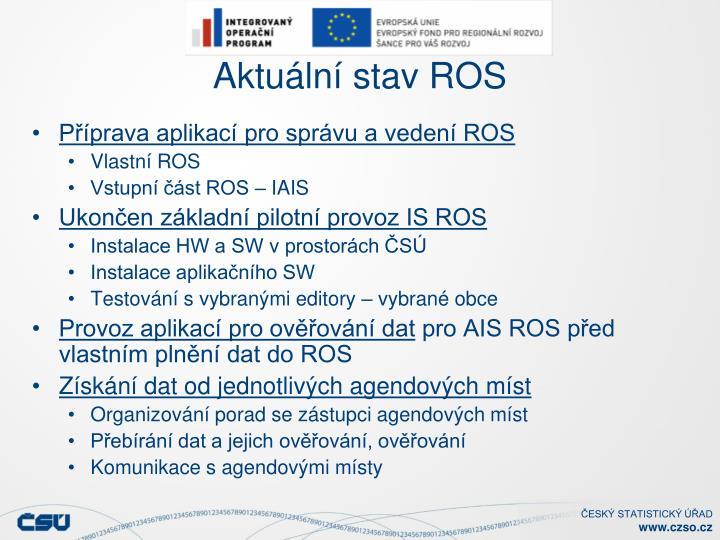 Aktuální stav ROS
