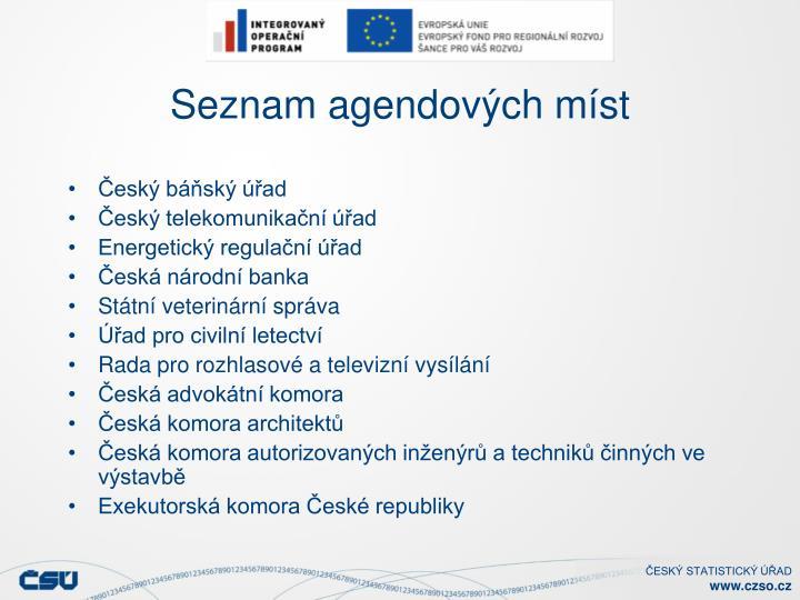 Seznam agendových míst