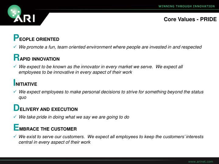 Core Values - PRIDE