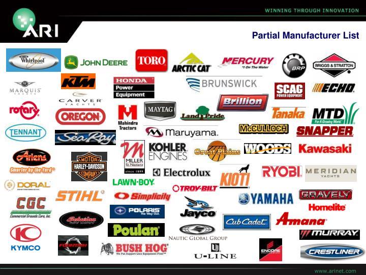 Partial Manufacturer List