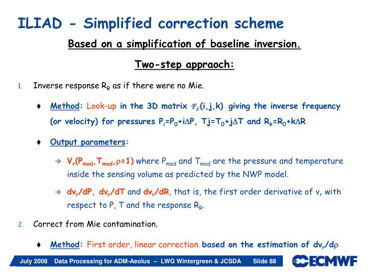 ILIAD - Simplified correction scheme