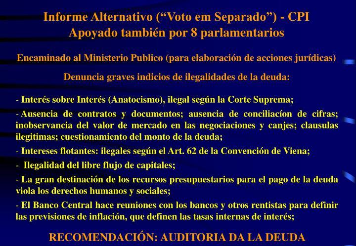 """Informe Alternativo (""""Voto em Separado"""") - CPI"""
