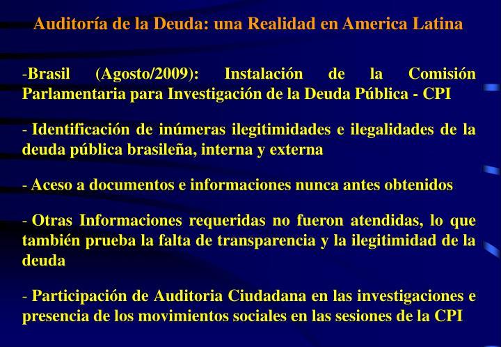 Auditoría de la Deuda: una Realidad en America Latina