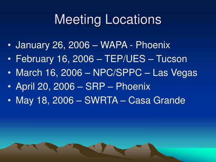 Meeting Locations
