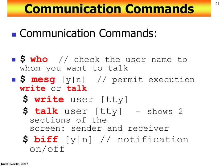Communication Commands