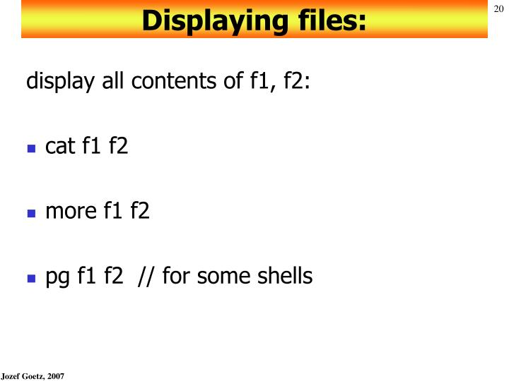 Displaying files: